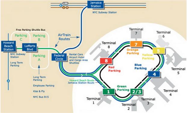 纽约旅游肯尼迪国际机场平面图